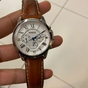 Men's brown leather belt fossil watch